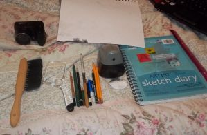 Art supplies for recent works by Graceona