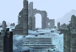 winter ruin background 1 by indigodeep