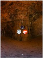 Traffic signs on castle wall by J-Skellington