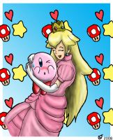 SSBB: Peach and Kirby by CaseyLJones