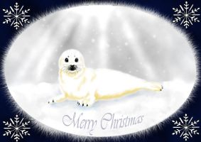 Harp seal pup christmas by MysticGaia