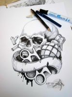 Skull. dotwork. by AsikaArt