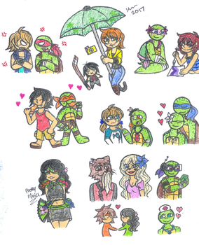 TMNT and OCs doodles by XxGreenNinjaChickxX