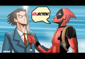 Deadpool-Phoenix Wright by hanzthebox