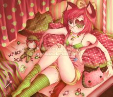 Strawberries and watermelons by oceantann