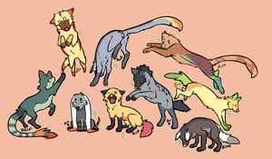 Colorful Batch of Adoptables 262 239 by Karen498