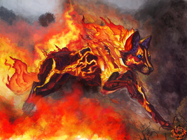 Illustration II Fire spirit Thymeria by Lunewen