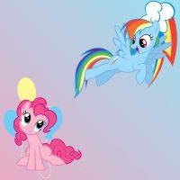 Pinkie Pie and Rainbow Dash by Hiddenwithinthunder