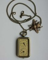 Retro pocket watch necklace by Pinkabsinthe