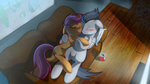 Scootaloo X rumble cuddle. by Skwareblox