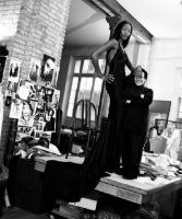 Naomi Campbell and tiny man by lowerrider