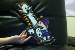 Calvin and Hobbes Perler Beads by forwantofsilence