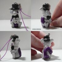 Top Hat Mewtwo Charm by ChibiSilverWings