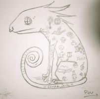 A Chameleon in a Tattoo Shop by Piou-plume