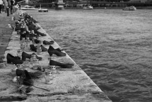 Shoes of jews in Budapest by bobiancart