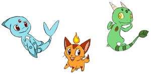 Fakemon - Starters by Firefly9575