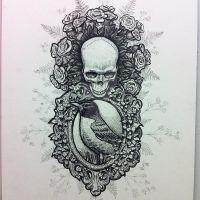 Robin skull design with roses by jamboots