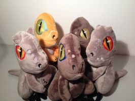 FOR SALE - Baby Raptor Plushies by Phylpo