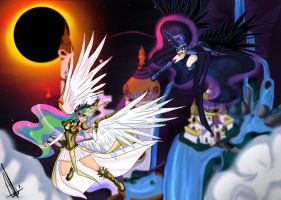 Celestia Vs Nightmare moon by Neferity