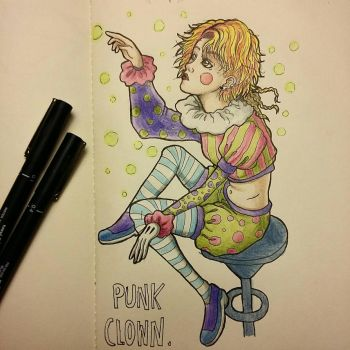 #inktober day #20 - Punk Clown - by qhici