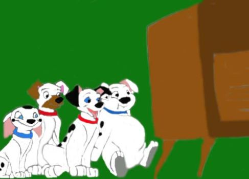 Pups watching Tv colored by FaPingMulan