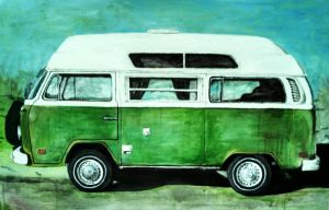 Green camper VW Bus by kirkfinger