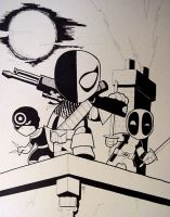 Bullseye, Deathstroke and... by hedbonstudios
