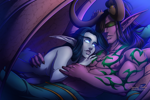 Shanarra and Illidan by artofcarmen