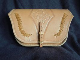 Bag with carvings and lacing by Kiscien
