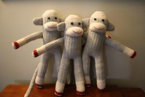 sock monkey trio by Mab-overthrown