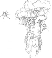 Horse Lineart for background by tzigany