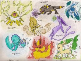 Eevee Evolutions by Spottedpie