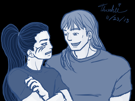 Casual Thor and Loki by Threshie