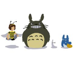 Busy Bee and Totoro by MsCyberBird