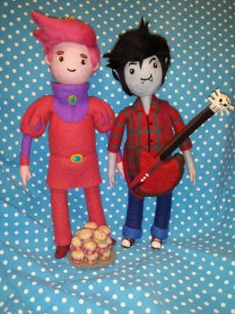 Marshall Lee 'n Prince Gumball Needle Felted Plush by CatsFeltLings