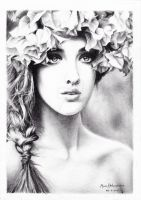 Girl with a floral crown by MunaMahmoud