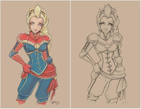Captain Marvel Sketch and WIP by NoFlutter