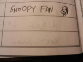 SNOOPY FAN BYLINE AND SNOOPY DRAWING by dth1971