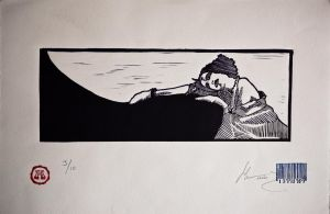 girl rest. lino by paulkleemx