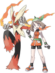 May And Her Mega Blaziken by Frie-Ice