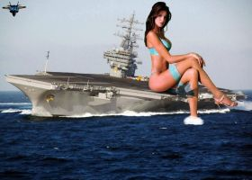Giantess Stephanie Seymour on a Aircraft Carrier by MAZ-629999
