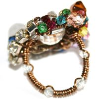 Wire Wrapped Beaded Ring by FranyaBlue