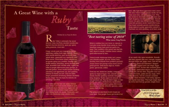 Ruby Valley Wine Magazine Spread by ToyaStudios