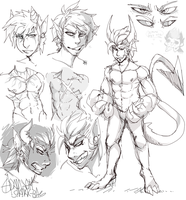 Demon boy scribbles by Shark-Bites