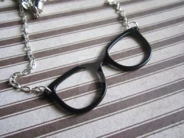 Nerdy Hipster Necklace with Silver Plated Chain by MammaShaClothing