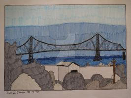 InkTober Drawing #9 Astoria, OR Bridge by Justyn16