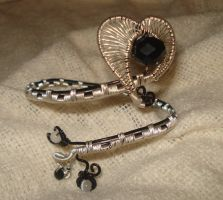Black And Silver  adjustable Heart Cuff by Toowired
