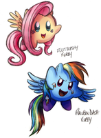Fluttershy and RD Kirbies by Marraphy