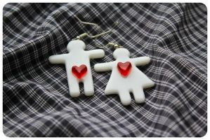 Man and Woman Earrings by CreamberryAccesory