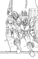 Rodimus and X-23 (lines) by DStevensArt